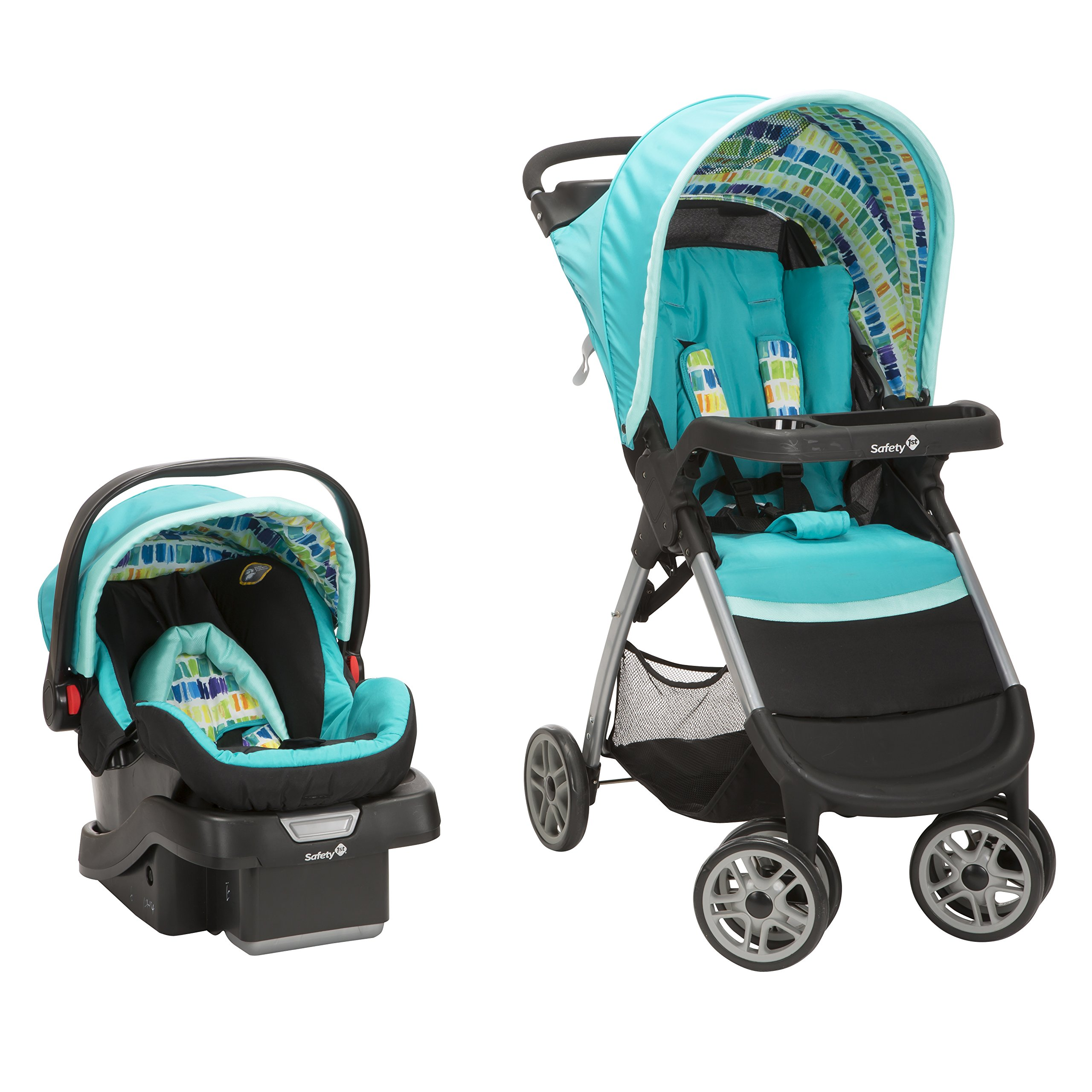 Safety 1st Amble Quad Travel System with onboard30 Infant Car Seat, Rainbow Ice