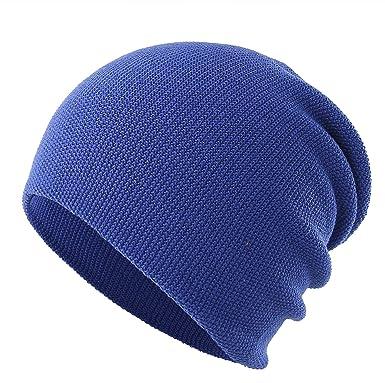 4390c59ac2e Decentron Unisex Men's Daily Slouchy Beanie Hat Knit Long Beanie Hats Thin  Winter Skull Cap Blue: Amazon.co.uk: Clothing
