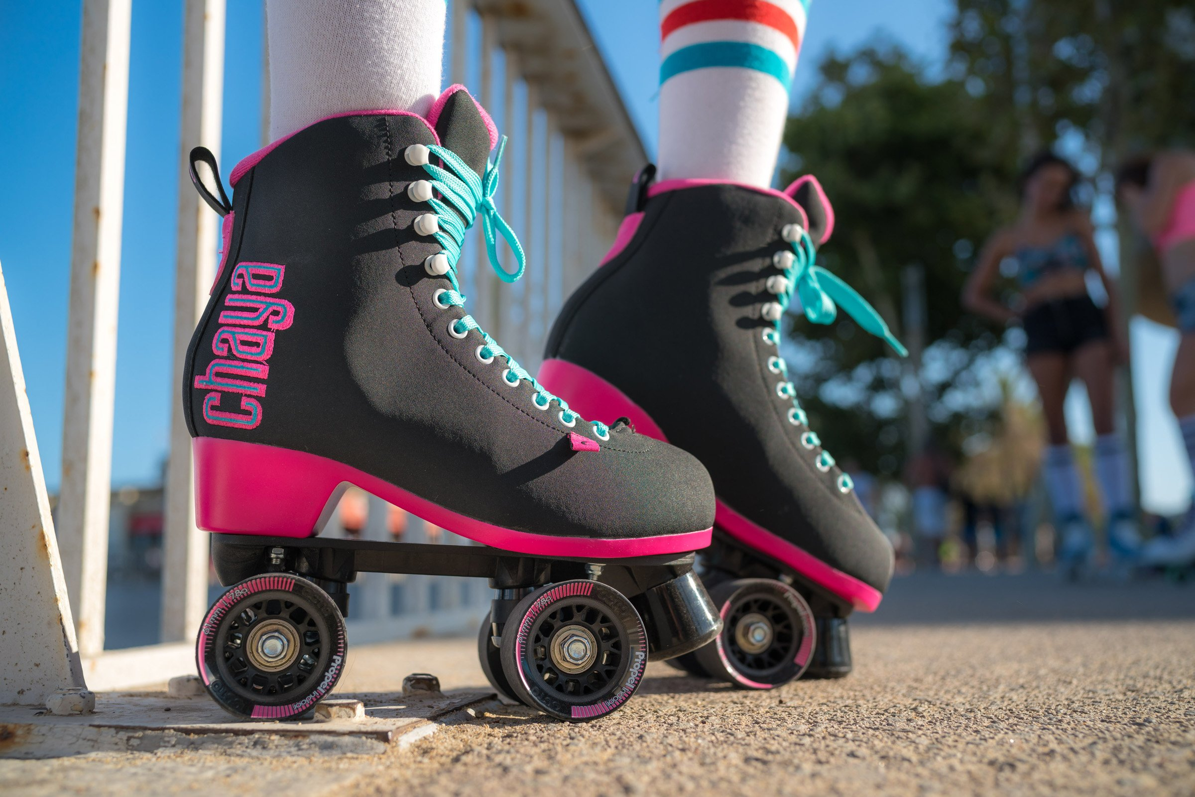 Chaya Melrose Black & Pink Quad Indoor/Outdoor Roller Skates (Euro 40 / US 9) by Chaya (Image #4)
