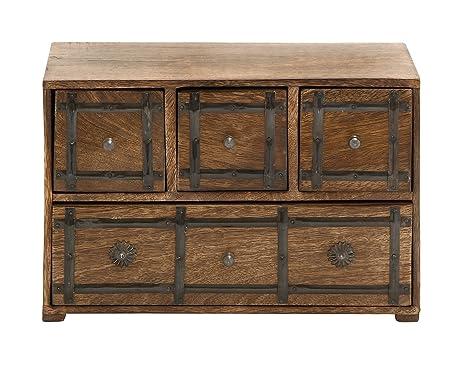 Amazon.com: Benzara simplemente atemporal Caja de madera con ...