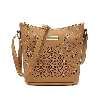 0c7b3445de65 PU Messenger Bag Women Girls Handbag Bucket Bag Hollow Out style Croosbody  Shoulder Bag