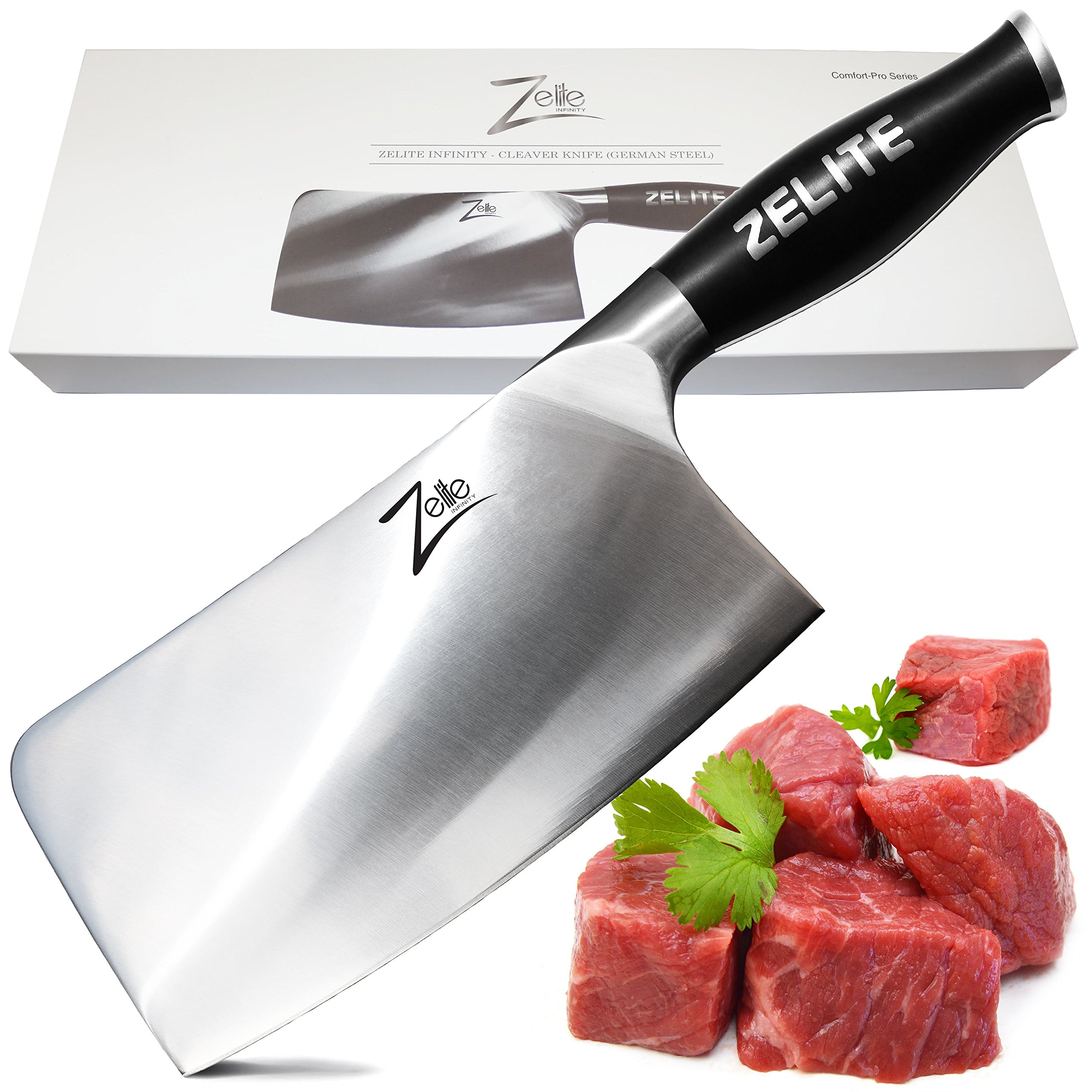 Zelite Infinity Cleaver Knife - Comfort-Pro Series - High Carbon Stainless Steel Knives X50 Cr MoV 15 >> 7'' (178mm)