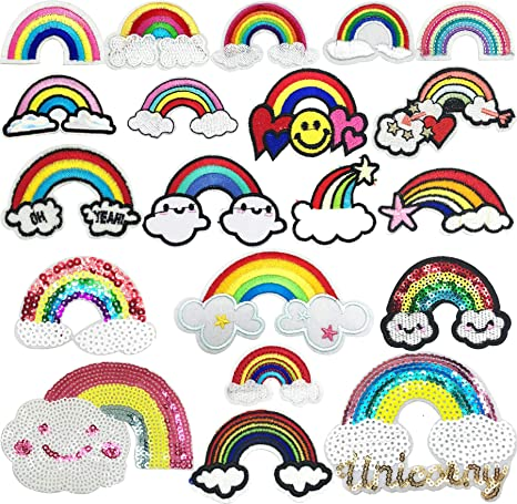 Embroidered Rainbow Butterfly Patches Lot Sequined Patch Appliques