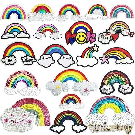 Woohome Patches zum Aufbügeln, 20 Stück Regenbogen Patch Sticker, Aufbügelflicken Bügelflicken Patches für Jeans, Taschen, DIY