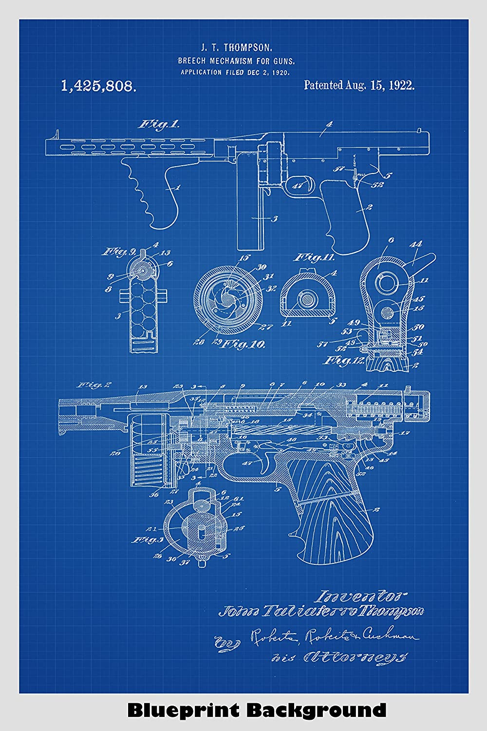 Amazon tommy gun thompson submachine gun patent print art amazon tommy gun thompson submachine gun patent print art poster choose from multiple size and background color options handmade malvernweather Image collections