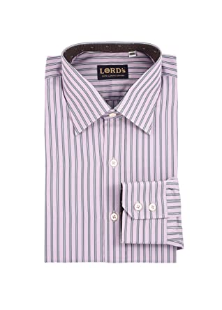 27b3a3f402 LORD's Men's Pinstriped Slim-Fit Cotton Shirt Flower Cuff at Amazon Men's  Clothing store: