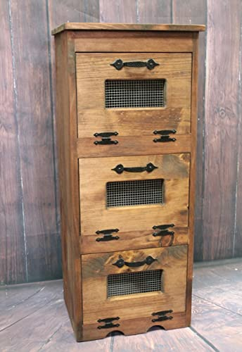 Amazon.com: Wood Vegetable Bin Potato Storage Rustic Cupboard ...