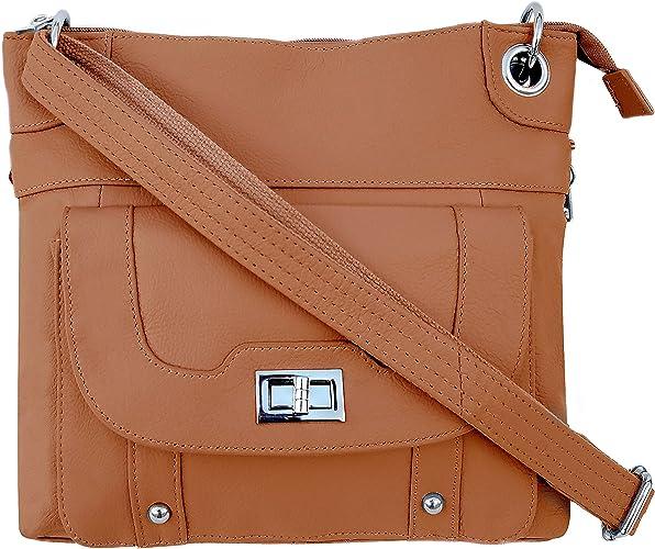 Roma Leathers Women S Concealed Carry Purse Premium Cowhide Leather Cross Body Handbag Ykk Lockable Zipper Cut Proof Adjustable Shoulder Strap Front Twist Lock Buckle Manufacturer Guarantee
