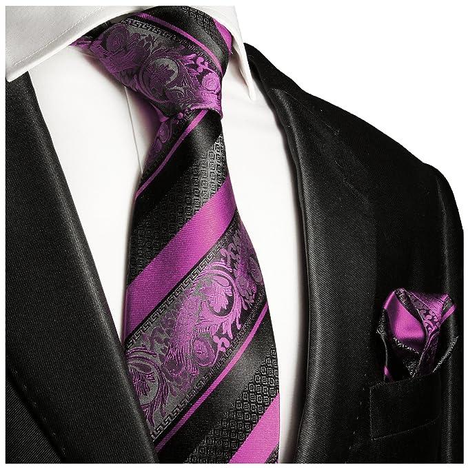 P.M. Krawatten Paul Malone Corbata de seda rosa negro barroco a ...