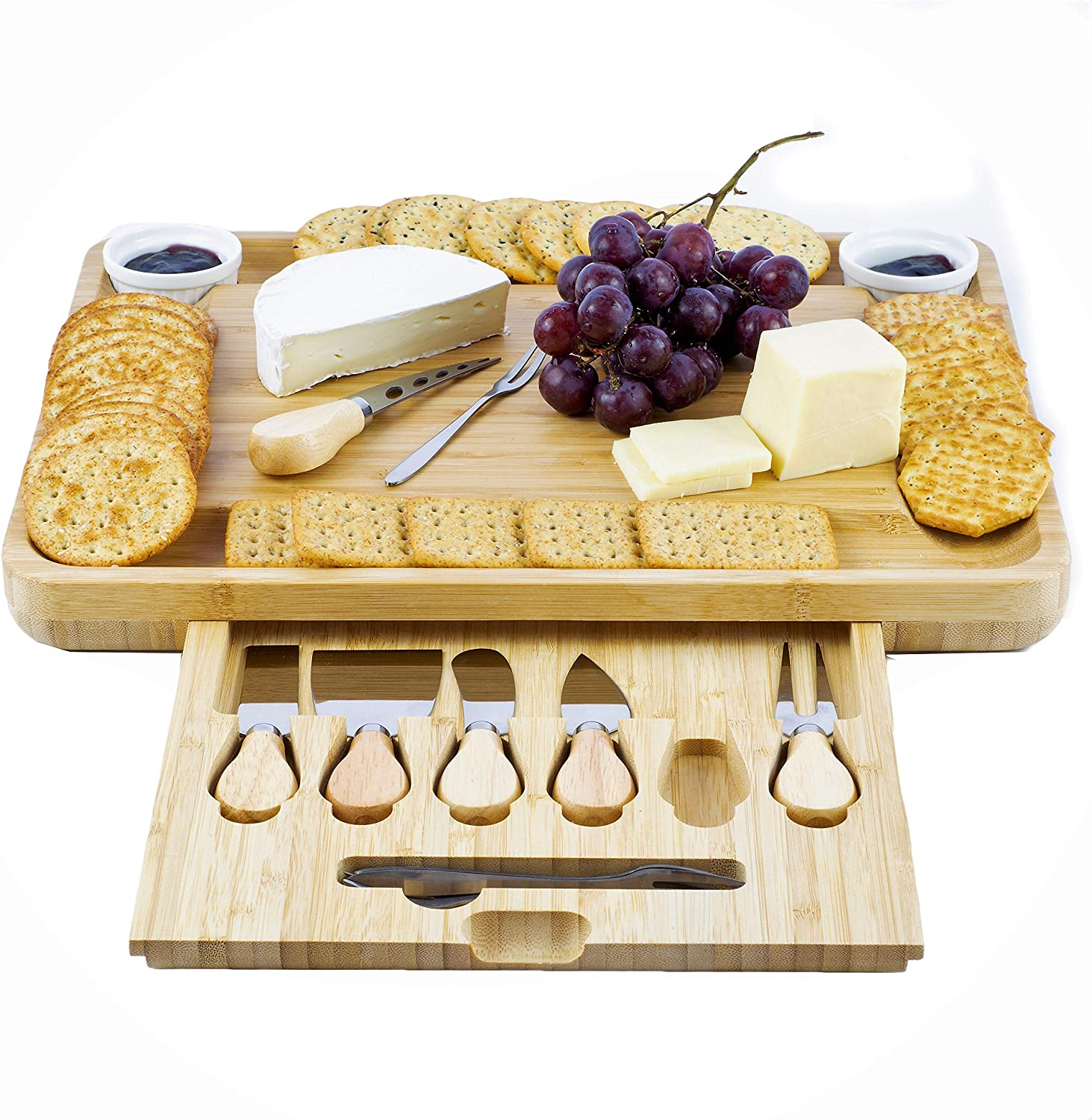 Bamboo Cheese Board and Knife Set - Charcuterie Platter with 6 Cutlery, 4 Forks, 2 Ceramic Bowls, Upgraded Magnetic Tray - Extra Large Wooden Serving Plate for Meats, Crackers, Dip, Fruit, Veggies