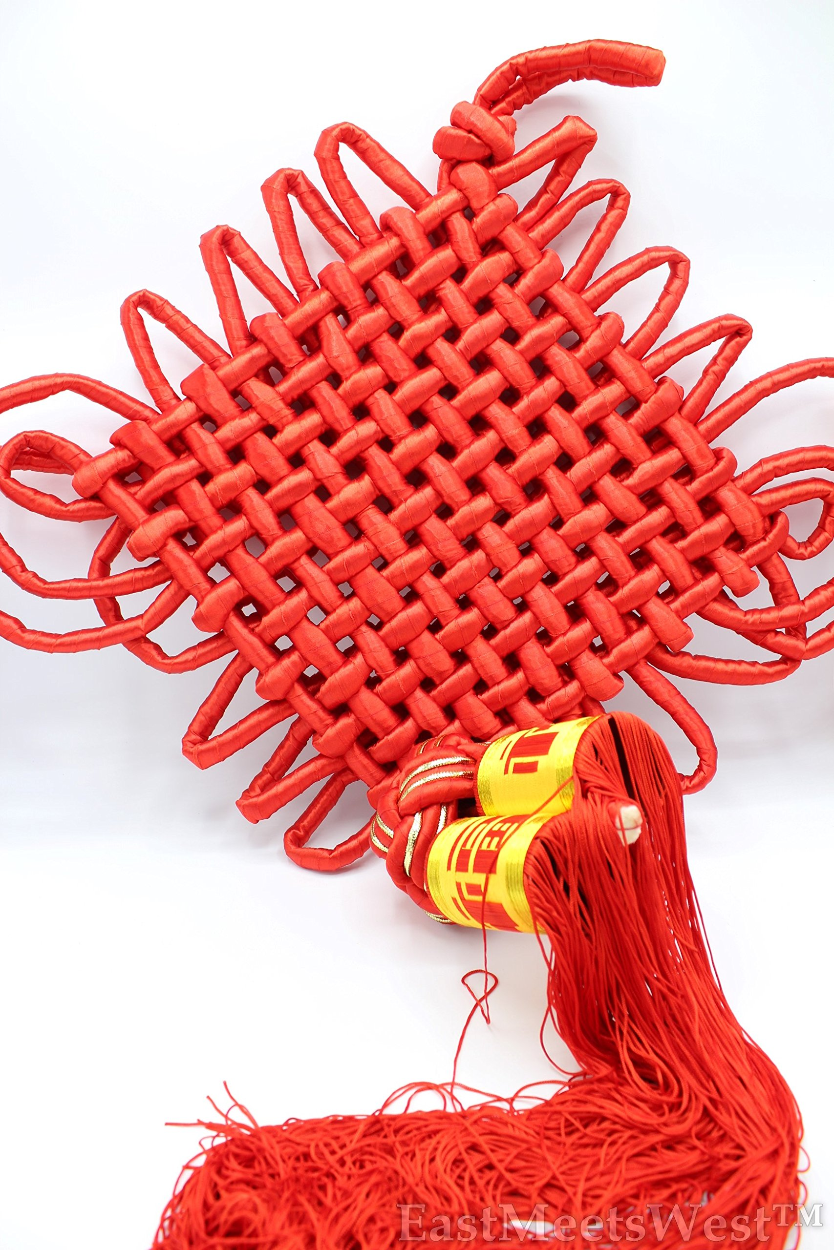 Huge Chinese Red Mystic Knots Tassels Hanging Charm Wall Plague Feng Shui Decoration