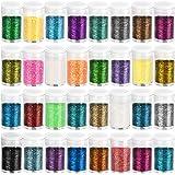 Fine Slime Glitter, Set of 32 Colors, LEOBRO Multi Purpose Glitter Powder for Arts, Crafts, Epoxy Tumblers, Decoration…