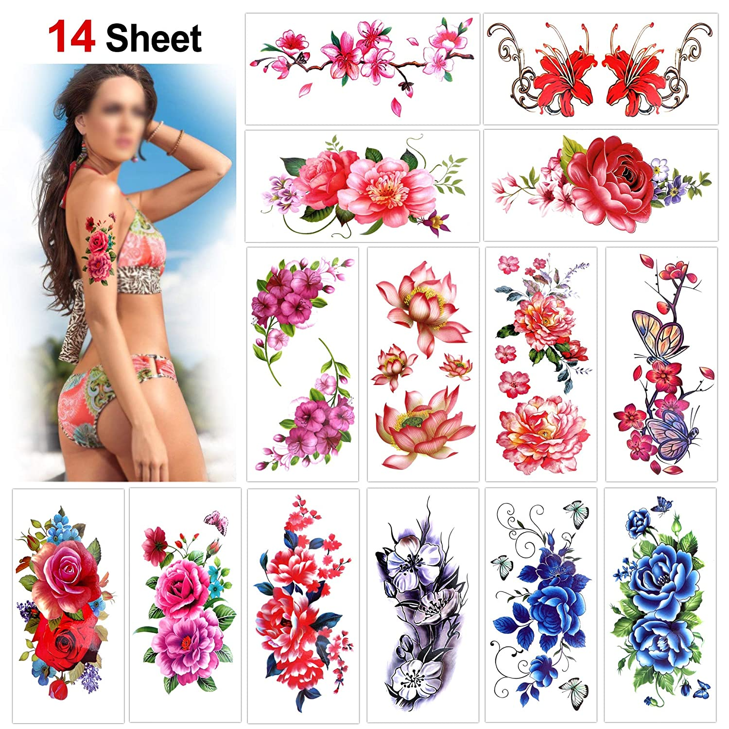 Flower Temporary Tattoos for Women Teens Girls(14 Sheets), Konsait Rose Lotus Cherry Blossoms Waterproof Temporary Tattoo Festival Flash Fake Tattoo Body Art Stickers for Summer Beach Pool Party