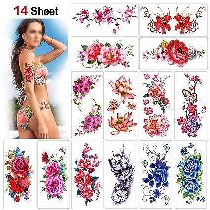 Konsait 14 hojas temporales tatuajes para adultos mujer niños, Rose Lotus flores Tatuajes Temporales Flash