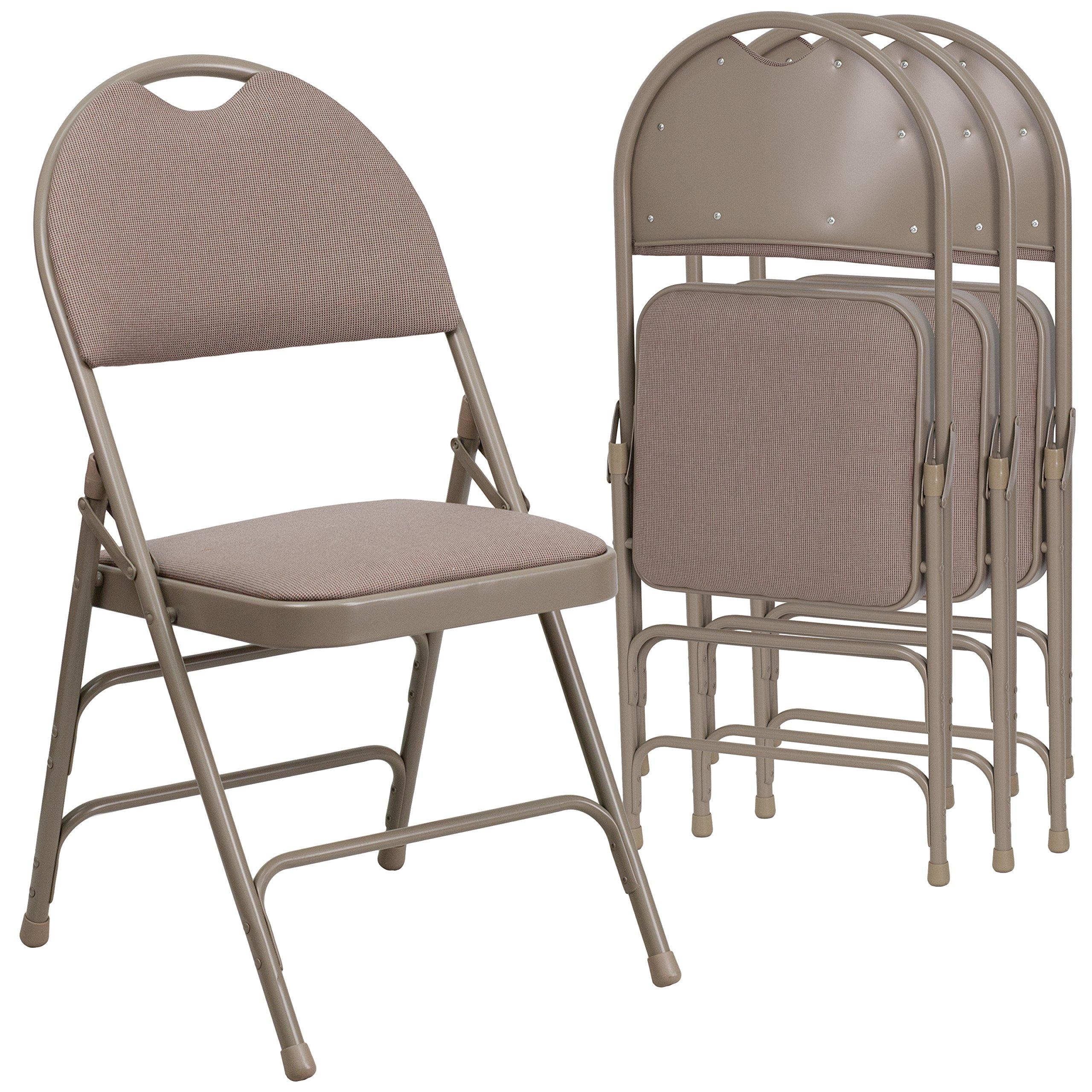 Flash Furniture 4 Pk. HERCULES Series Ultra-Premium Triple Braced Beige Fabric Metal Folding Chair with Easy-Carry Handle