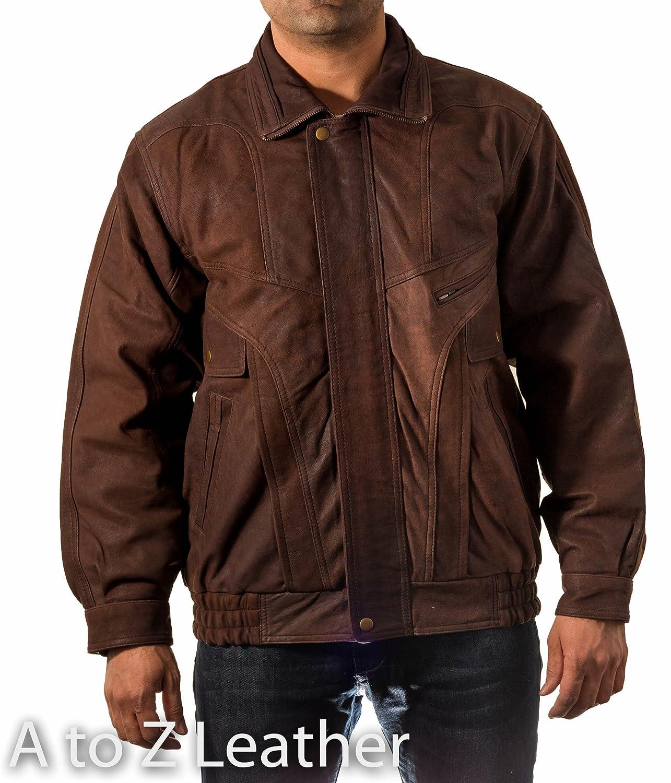Mens Brown Real Leather Vintage Classic Retro Blouson Bomber Jacket Coat