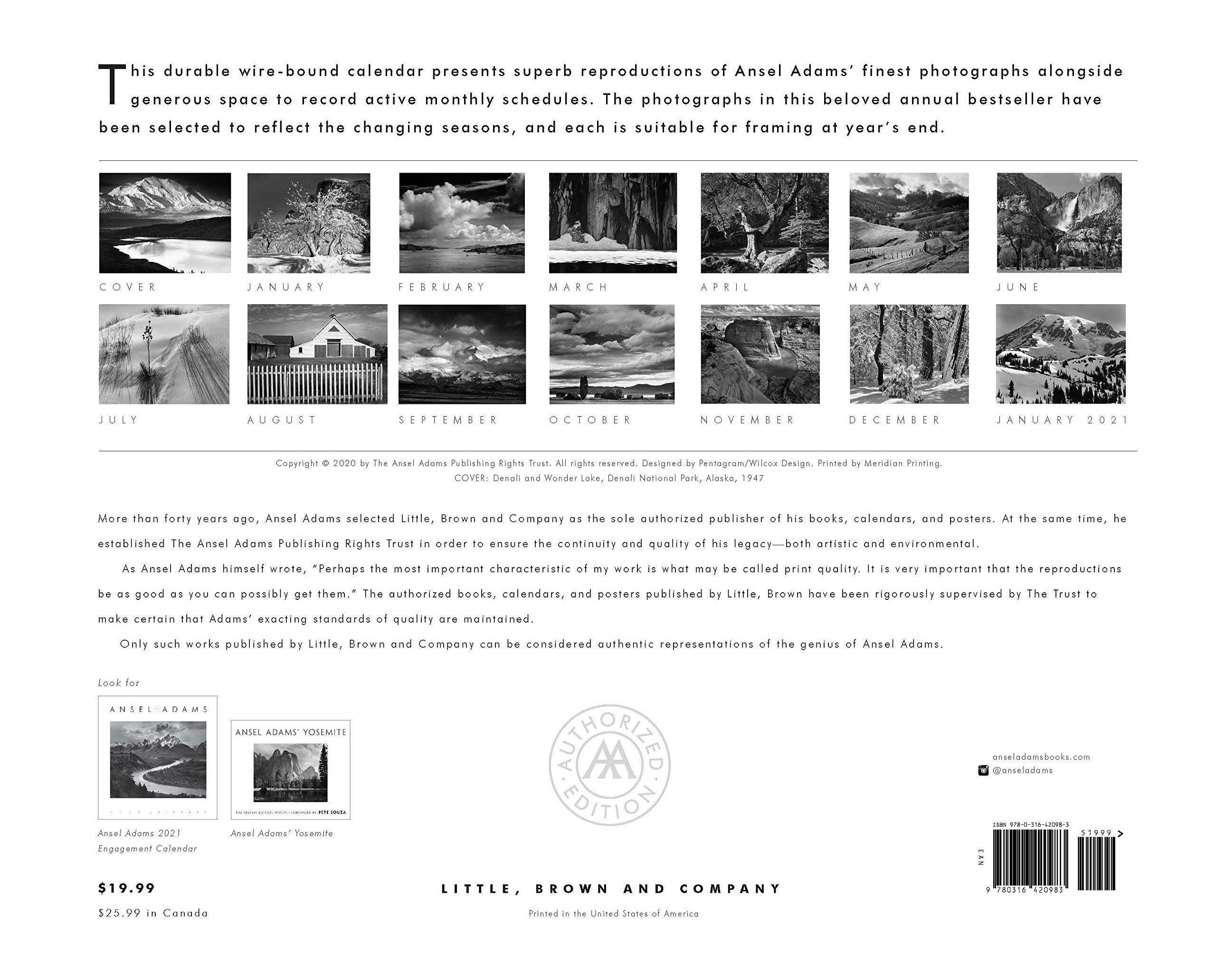 Ansel Adams Calendar 2021 Amazon.com: Ansel Adams 2021 Wall Calendar (9780316420983): Adams
