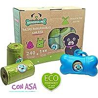 Mindful Pet Bolsas Biodegradables con Asa para popó de Perro Kit con 240 Bolsas (16 Rollos) + 1 Dispensador.