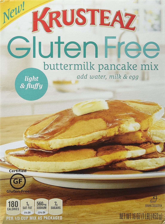 krusteaz, sin gluten, Pancake Mix, color crema, 16oz Caja (3 ...
