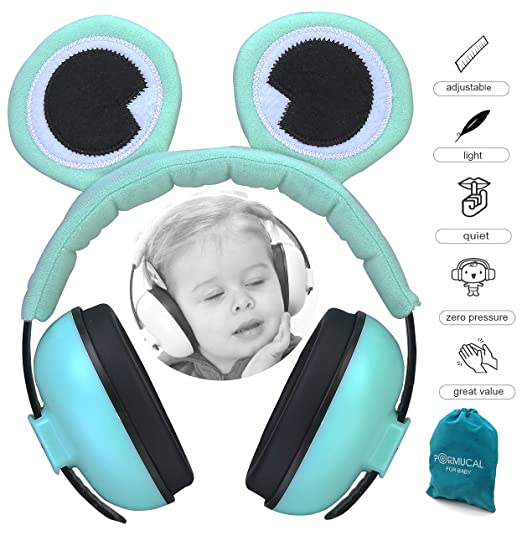 PORMUCAL Baby Ear Protection for Babies for 3 Months to 2+ Years Noise Cancelling Ear Muffs for Infant Toddlers with Frog Eye. (Green)