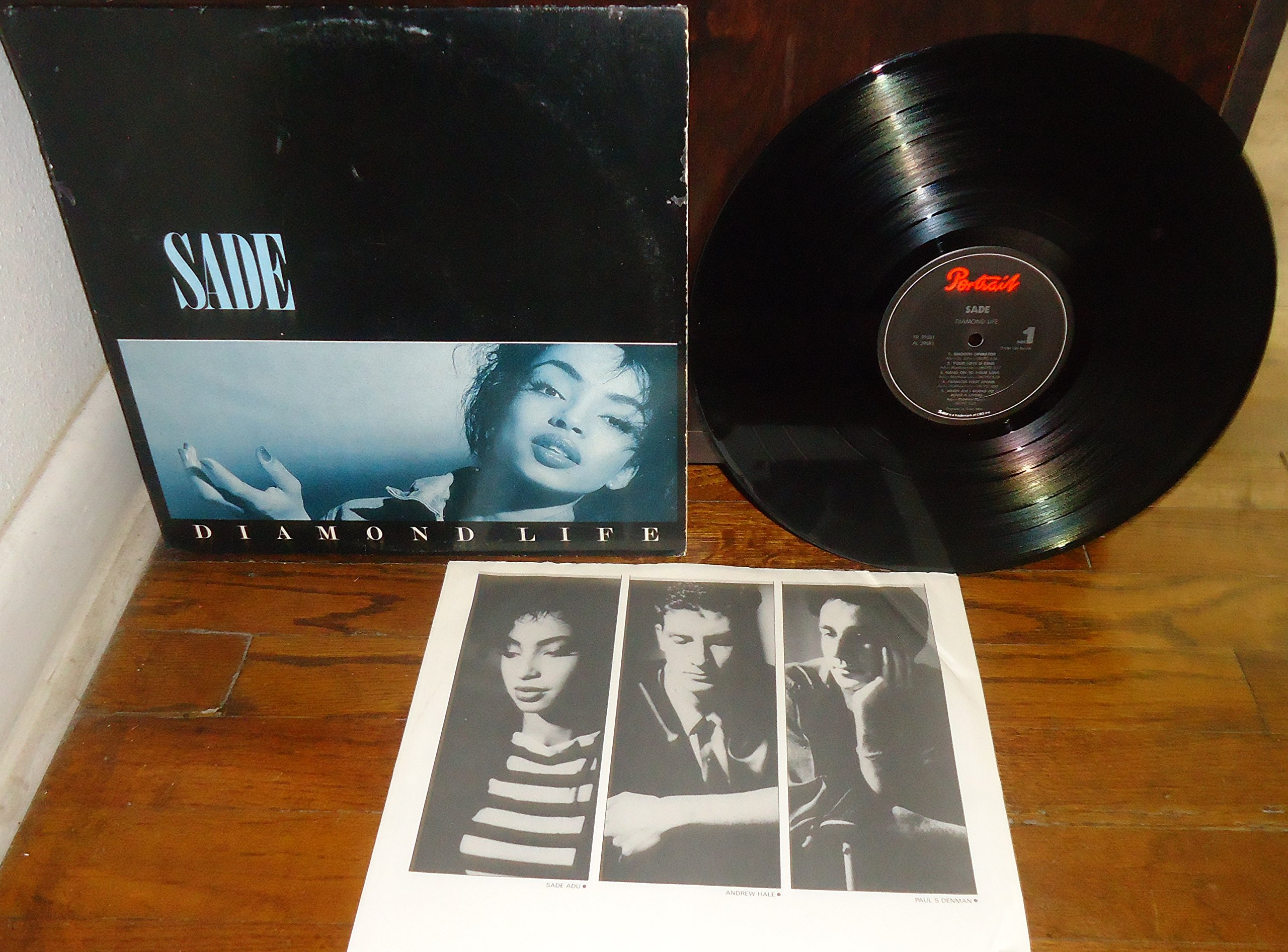 Sade - Diamond Life LP - 1st Original First Edition US Pressing Vinyl Record Complete with Inner Picture/Lyric Sleeve - Epic Records Catalog # FR 39581 - 1984 - Jazz - Funk - Soul Music VG+/VG++