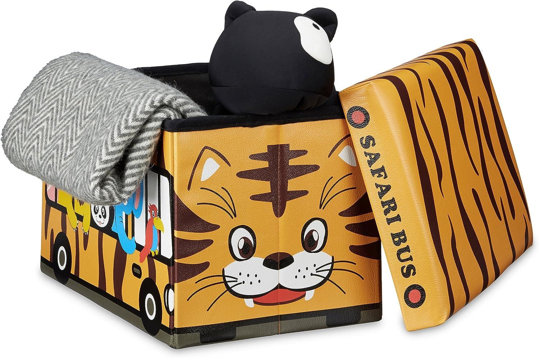 Relaxdays Faltbare Spielzeugkiste Krankenwagen HBT 32 x 48 x 32 cm stabiler Kinder Sitzhocker als Spielzeugbox Kunstleder mit Stauraum ca Ambulance 37 l und Deckel zum Abnehmen f/ür Kinderzimmer