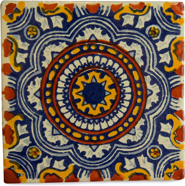Lot de 25 fait /à la main et /éthiquement n/égoci/é par Tumia LAC 10,5 cm Carrelage en c/éramique mexicaine