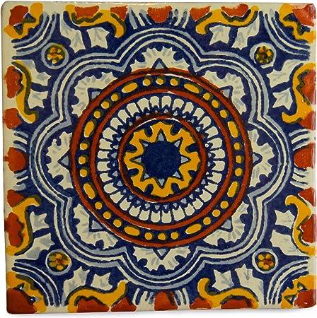 10,5 cm Carrelage en c/éramique mexicaine fait /à la main et /éthiquement n/égoci/é par Tumia LAC Lot de 25