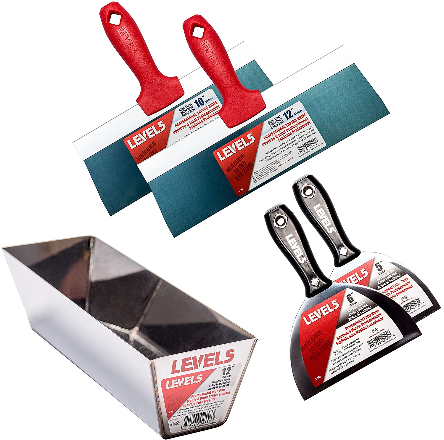 Pro Grade Economy Drywall Finishing Set | Taping and Putty Tool Blades, Knives, Pan | Sheetrock Gyprock Plasterboard | Level 5 Tools - - Amazon.com