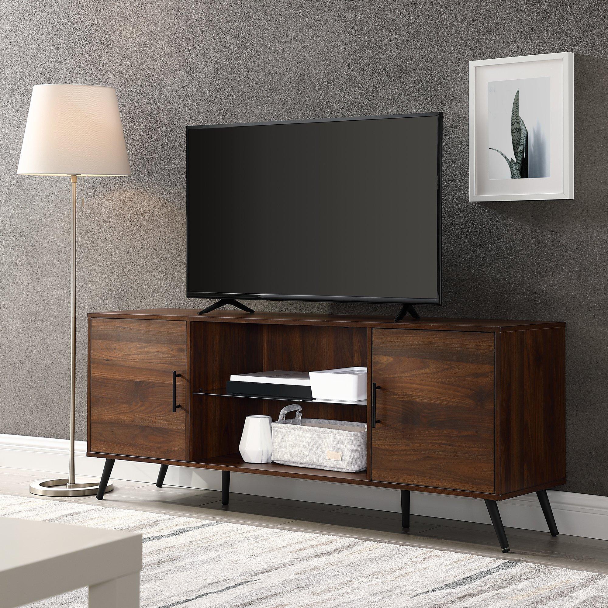 WE Furniture AZ60NOR2DDW TV Stand 60'' Dark Walnut