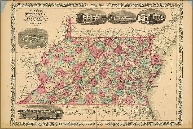 Amazon Com 16x24 Poster Map Virginia Delaware Maryland West