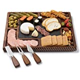 Shanik Acacia Cheese Board Set, Square Shaped Charcuterie Set, Cheese Platter with 2 Slide-Out Drawers, Stainless Steel…