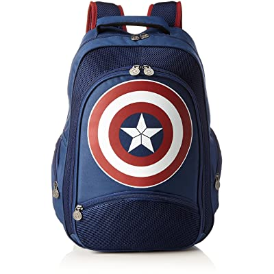 Marvel Comics Captain America: Unisex Shield Backpack   One Size   Blue/Red
