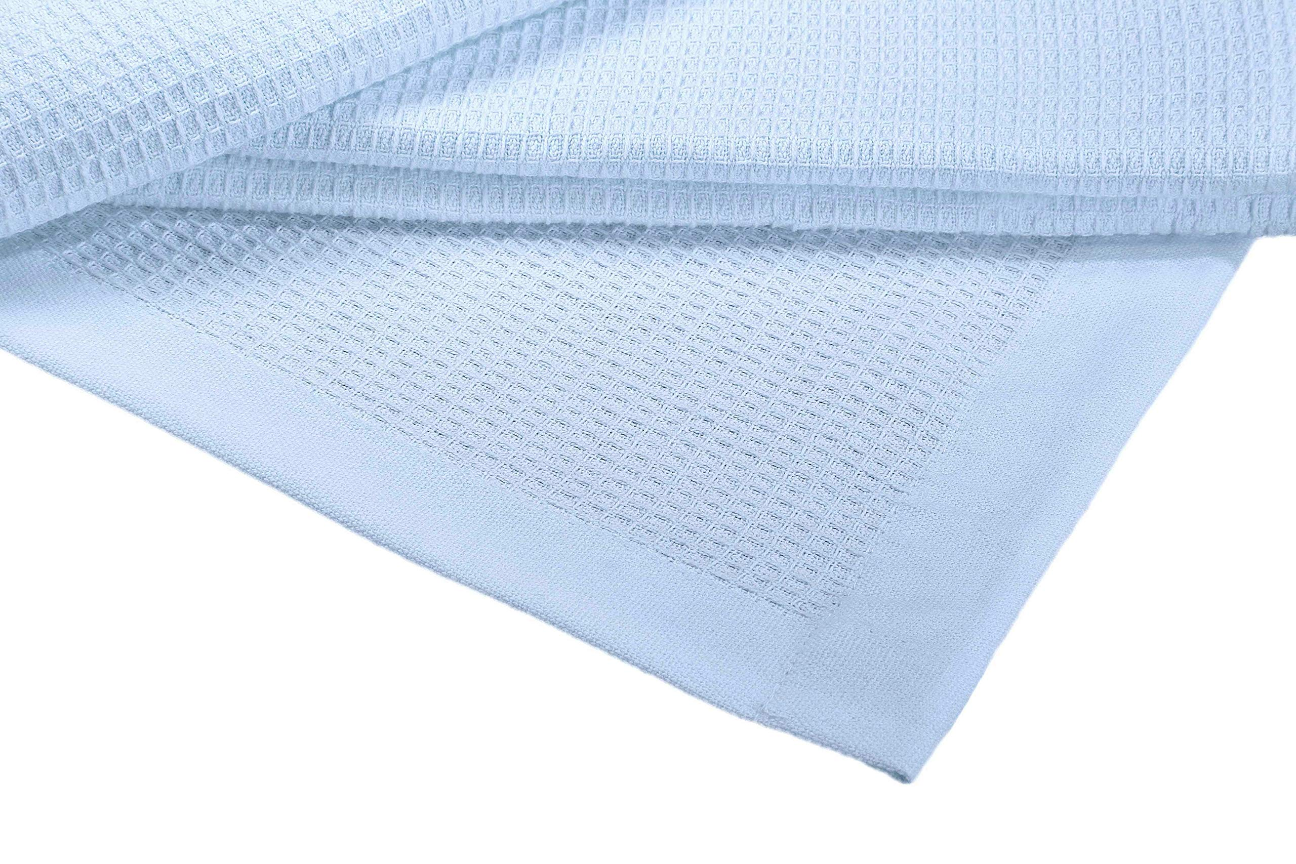 Crover Collection All Season Thermal Waffle Cotton Twin Blanket 66''x90'' Cashmere Blue with Deep Plain Edge Border Durable and Soft