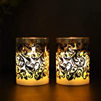 JHY DESIGN Set of 2 Glass Wax Battery Candles 10cm High LED Candles Real Wax Flameless Candles Flickering Electric…