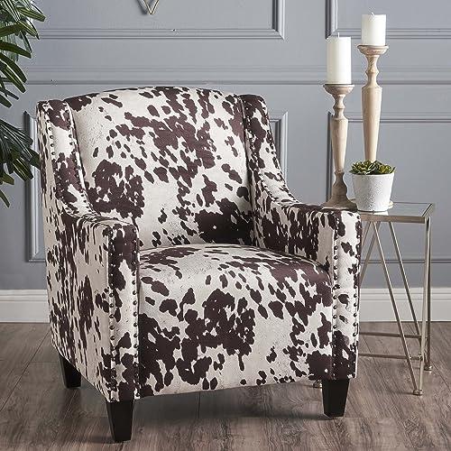 Christopher Knight Home Elisabeth Arm Chair, Milk Cow Dark Brown