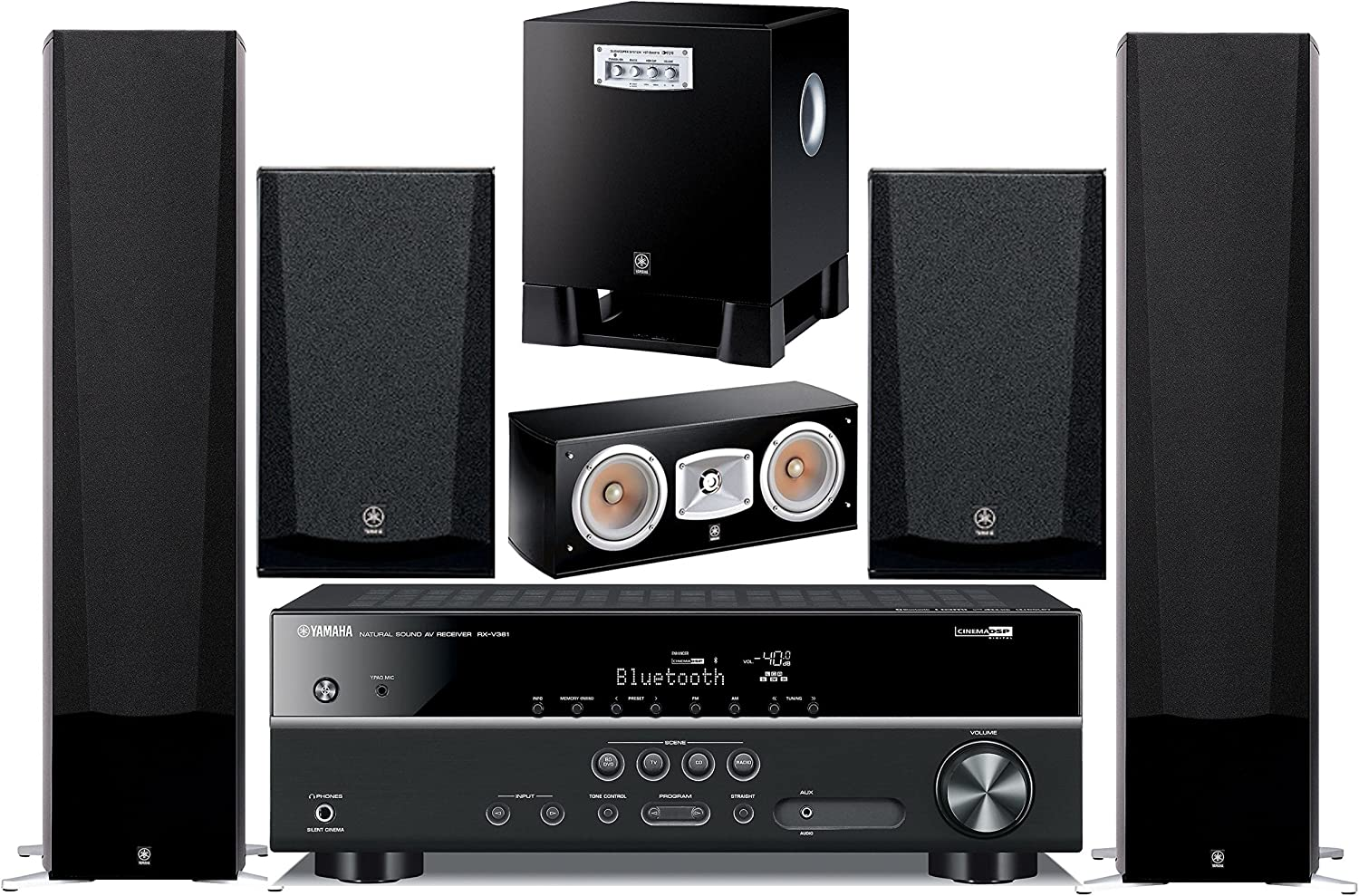 Yamaha 5.1-Channel Wireless Bluetooth 4K 3D A/V Surround Sound Multimedia Home Theater System