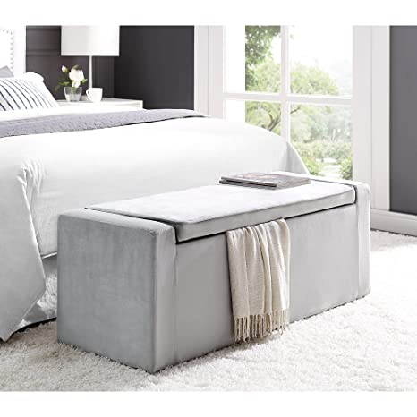 Magnificent Fabroni Grey Velvet Storage Bench Shoe Storage Upholstered Living Room Entryway Bedroom Inspired Home Gmtry Best Dining Table And Chair Ideas Images Gmtryco