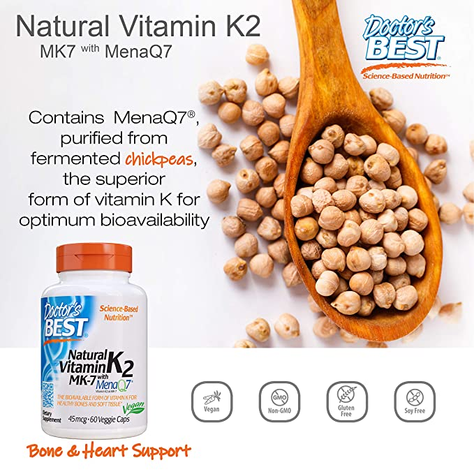 Doctors Best Vitamina Natural K2 Mk7 Con Menaq7, 45Mcg - 60 Vcaps ...