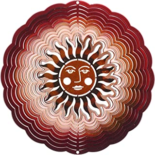 "product image for Next Innovations Small Sunface Wind Spinner – Antique Red/Copper Wind Spinner 6"" Round – Made in the USA for Outdoor Lawn and Garden Décor"