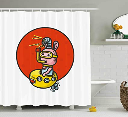 Ambesonne Yellow Submarine Shower Curtain Set Little Alien Cartoon In Spaceship With Periscope Over The
