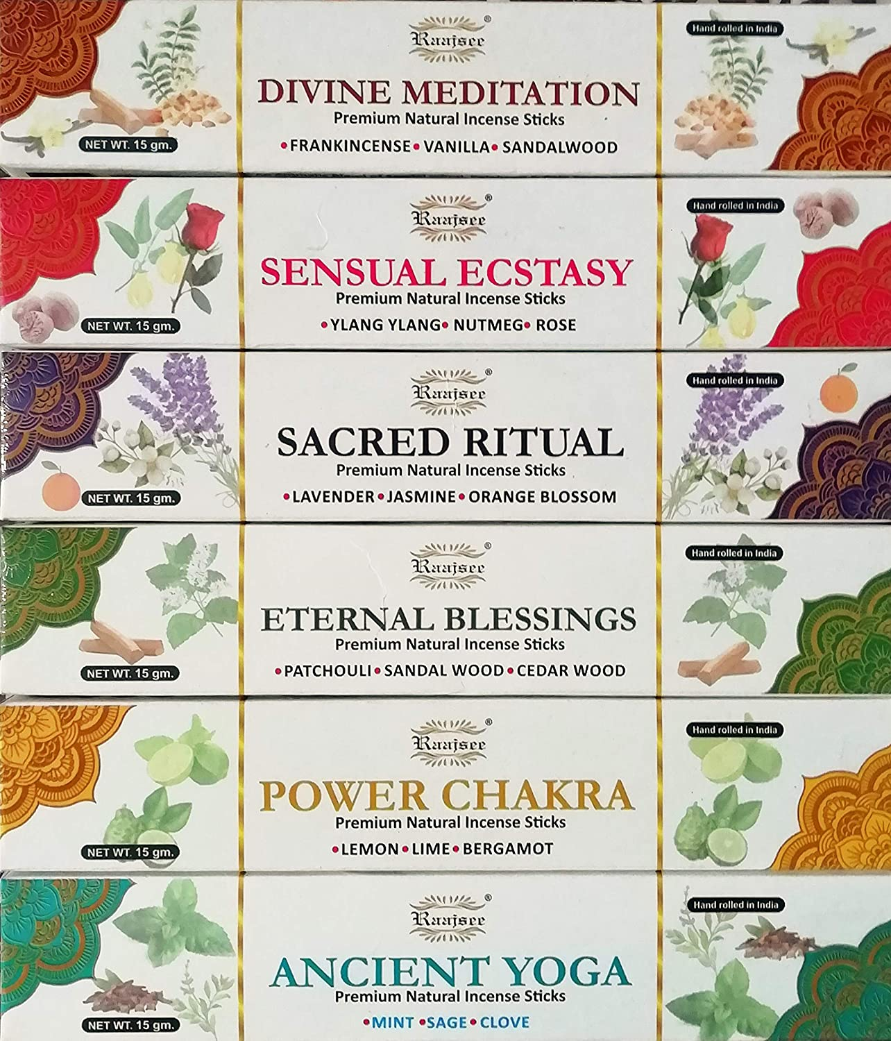 raajsee Incense Sticks Aromatherapy Collection 6 Pack Variety Set 15gm Each , Magical Blends of Different Natural Herbs- 100% Pure Organic Natural Hand Rolled Free from Chemicals- Perfect for Church