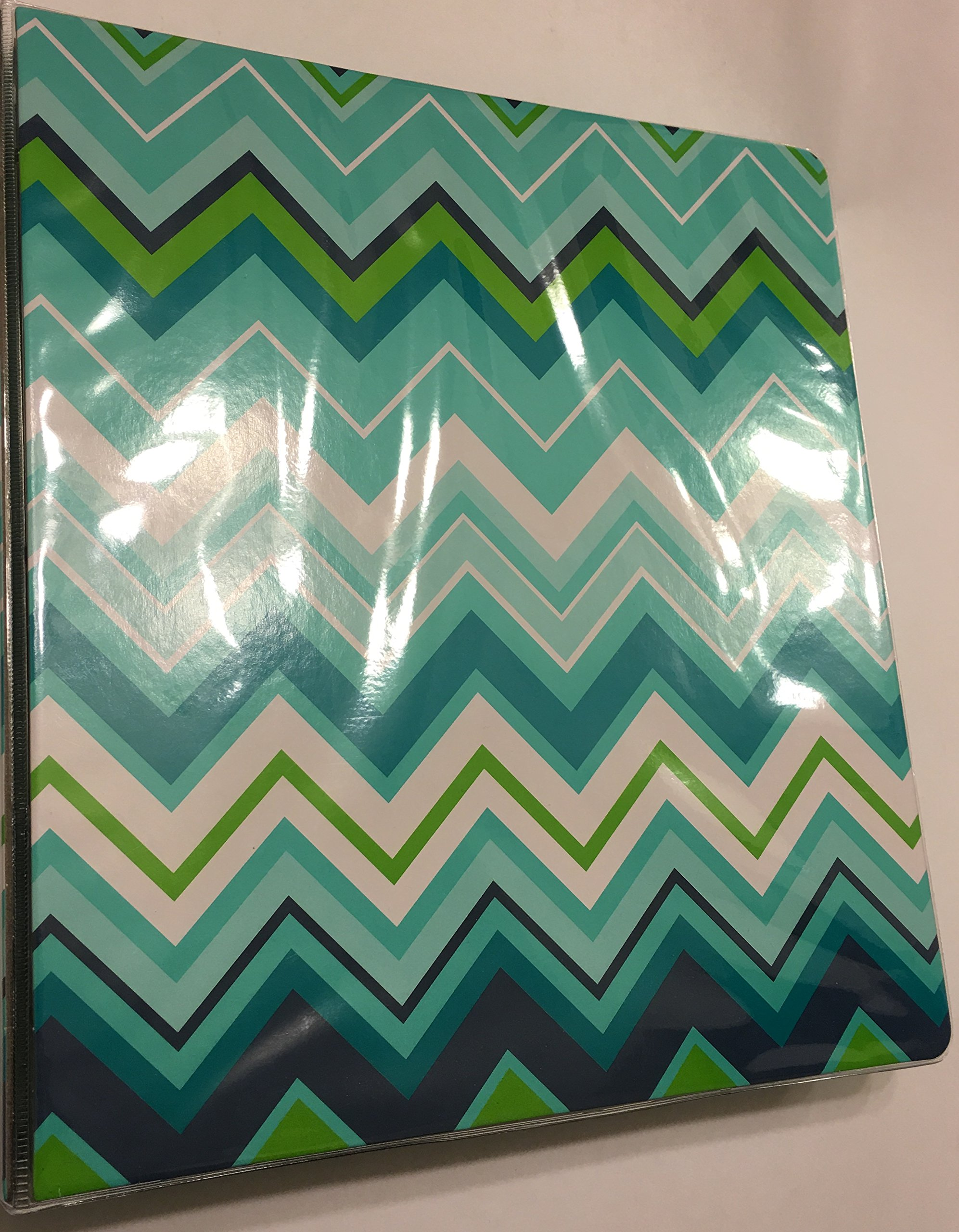 Divoga 1 inch 3 Ring School Fashion Binder, Large Green Chevrons