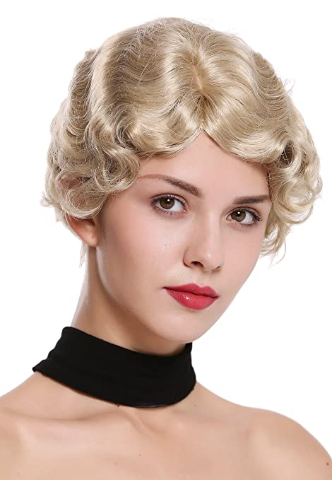 WIG ME UP ® - LD501-22 Peluca mujer corto ondulado raya medio estilo década