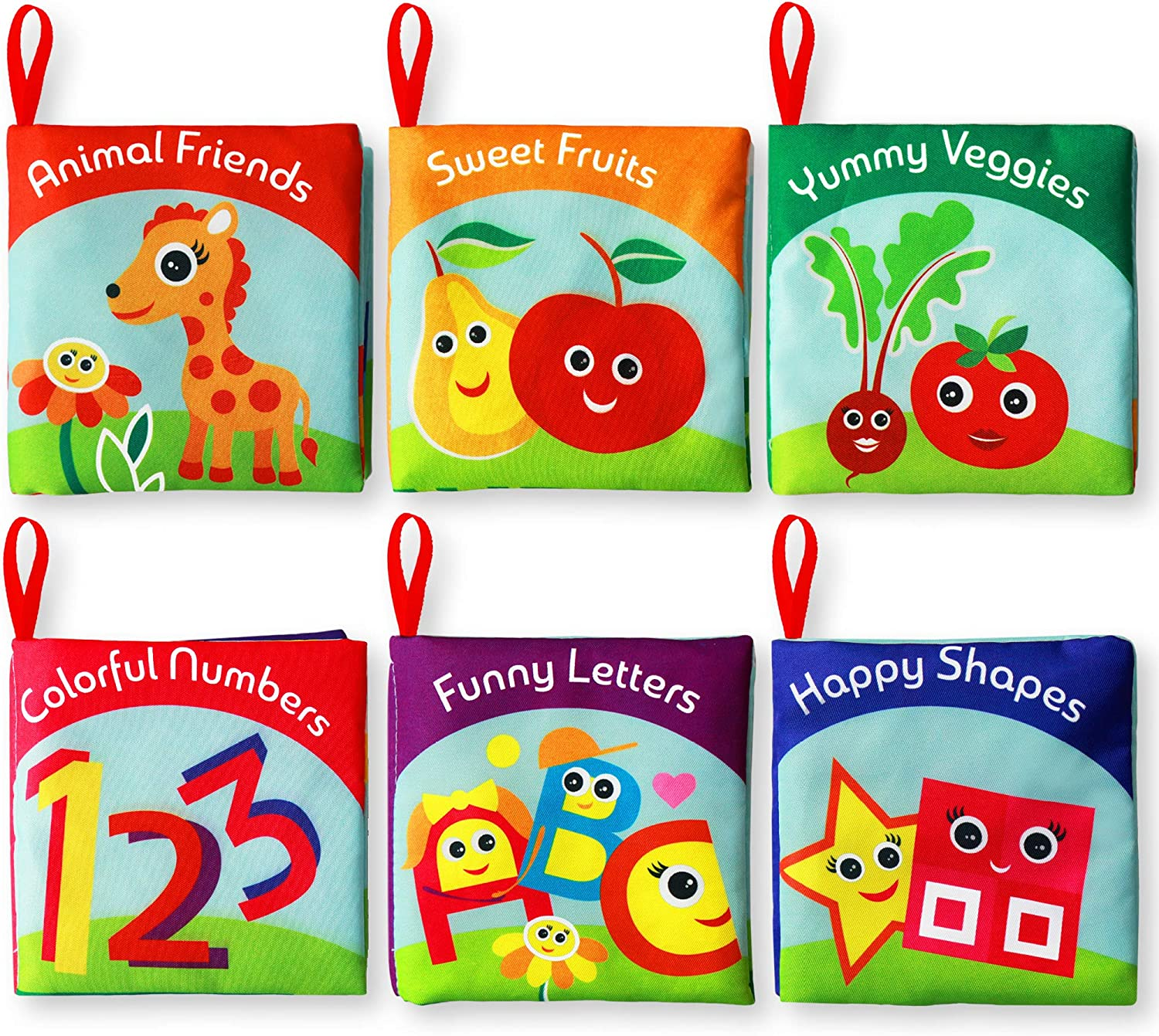 NEWSTYLE Soft Books 6Pcs Baby Cloth Books Nontoxic Fabric Baby Cloth Activity Crinkle Soft Books Baby Bath Books Early Education Learning Book for Infants Boys and Girls