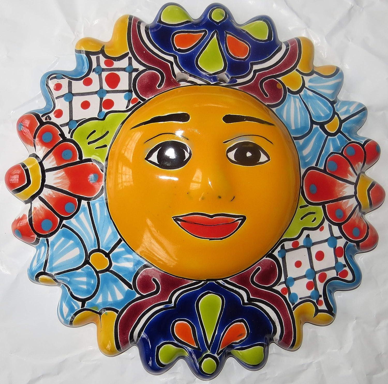 Talavera Ceramic Mexican Sun Face - 9.5 in - Beautiful Hand Made - Individually Unique - Sun Art Décor - Sun Face Wall Plaque - Sun Room Décor - Garden Wall Decor