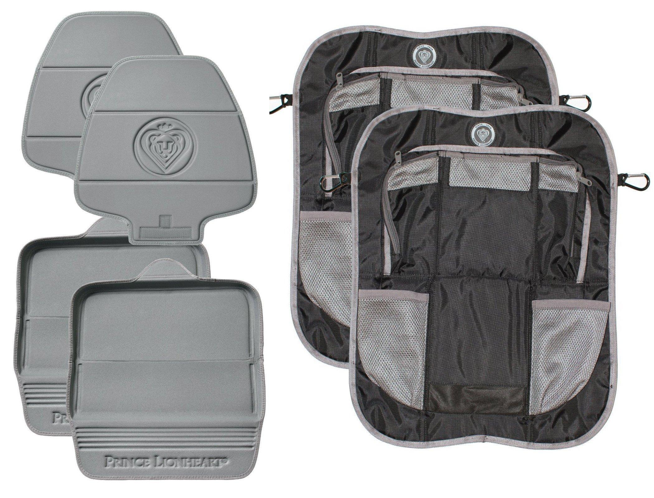 Prince Lionheart 2 Stage Seatsavers with Backseat Organizers, Set of 2, Grey/Black