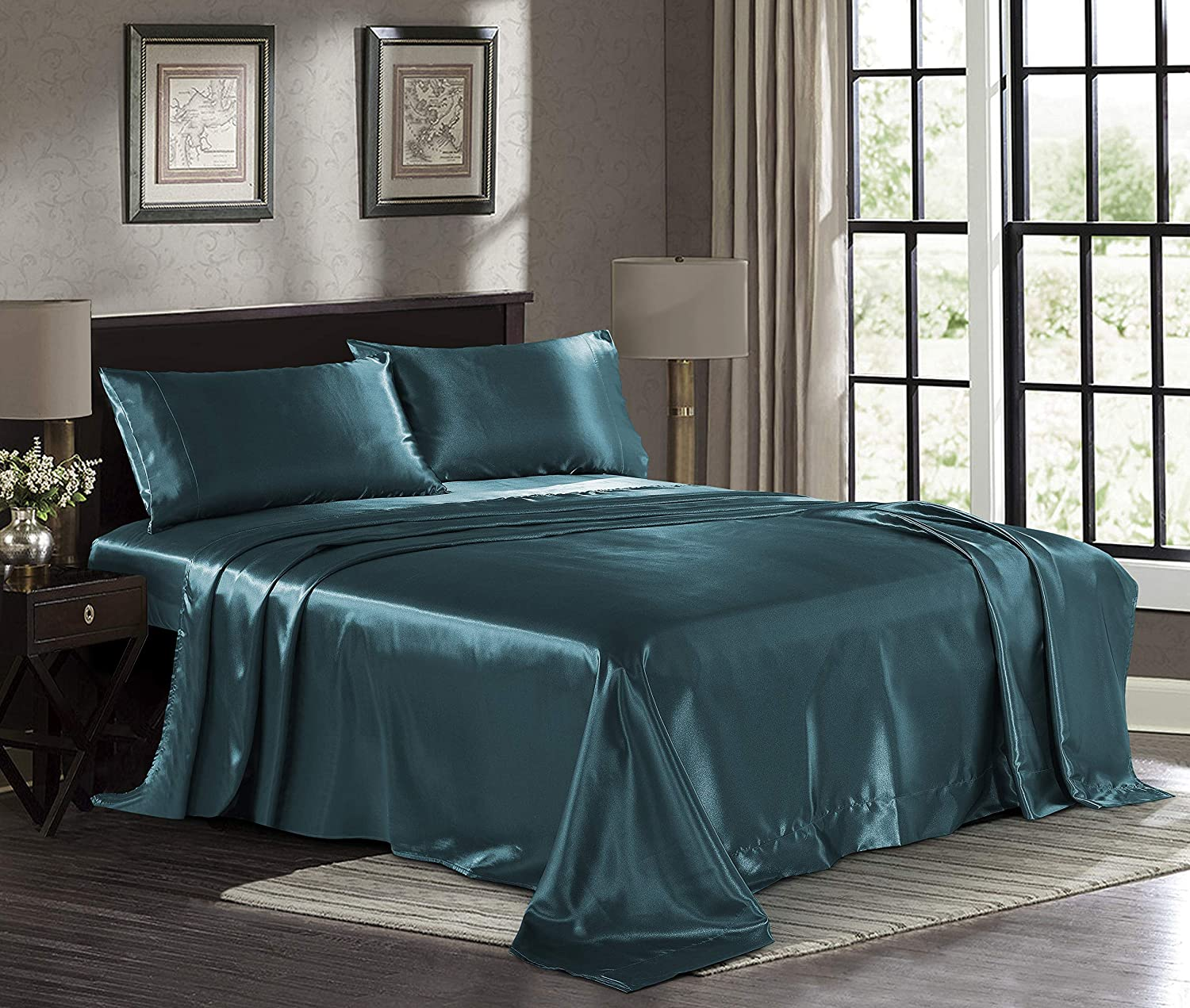 Satin Sheets California King [4-Piece, Teal] Luxury Silky Bed Sheets - Extra Soft 1800 Microfiber Sheet Set, Wrinkle, Fade, Stain Resistant - Deep Pocket Fitted Sheet, Flat Sheet, Pillow Cases