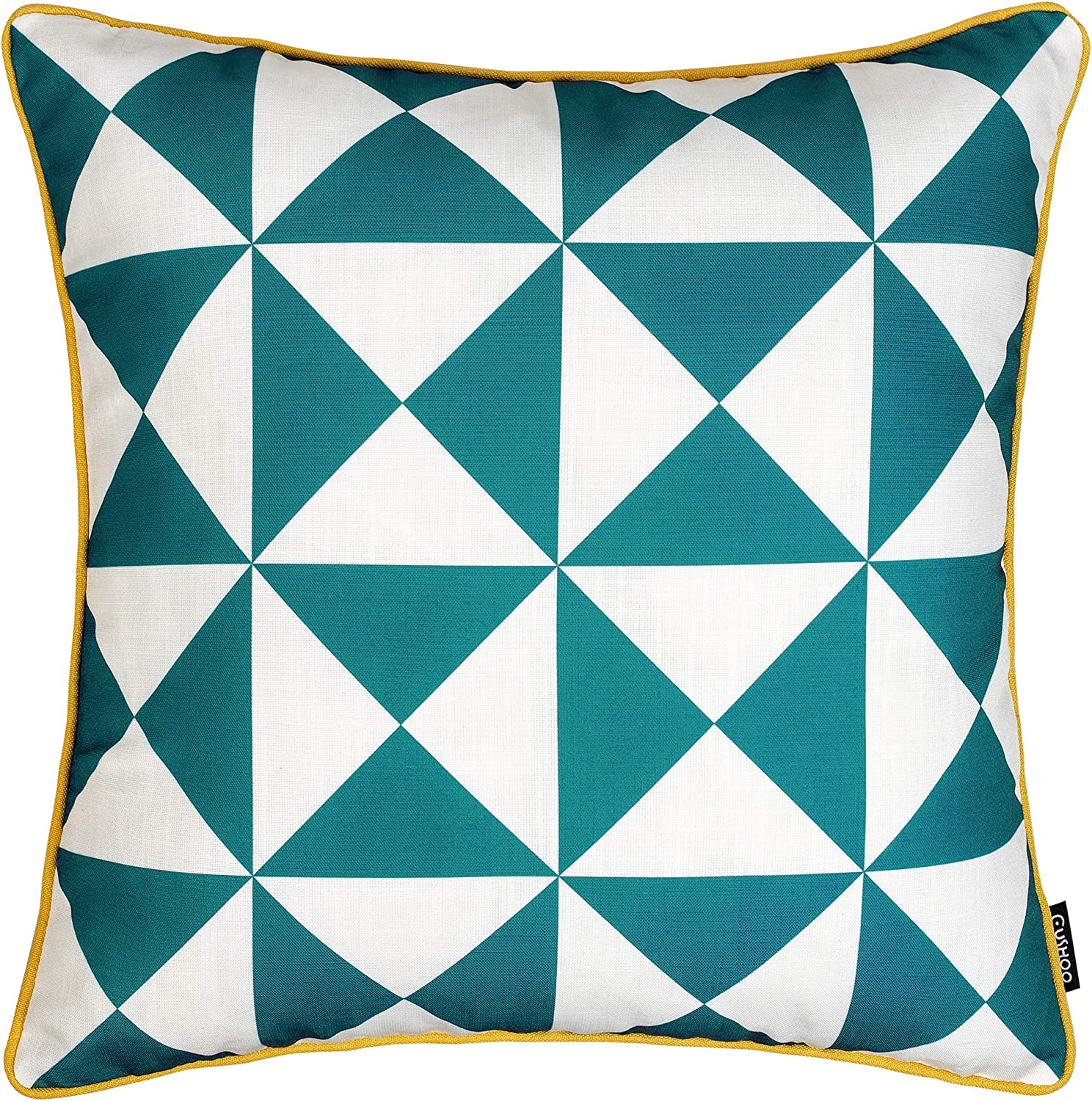 Cushoo Modern Geometric Cushion Cover In Teal Blue And White With Mustard Yellow Edge Piping Square Decorative Scatter Pillow Case For Sofa 45cm X 45cm 18in X 18in Amazon Co Uk