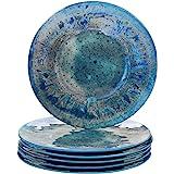 "Certified International Radiance Teal Melamine 10.5"" Dinner Plate, Set of 6"